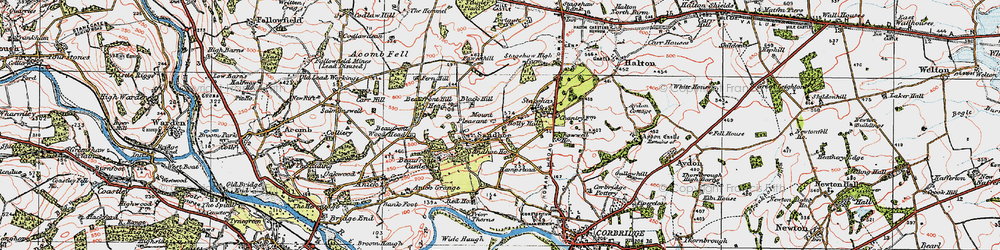 Old map of Acomb Fell in 1925