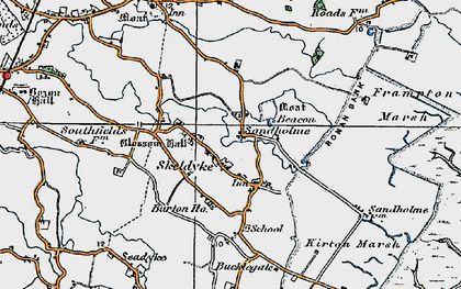 Old map of Wyberton Marsh in 1922