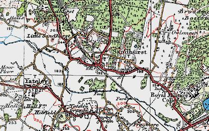 Old map of Sandhurst in 1919