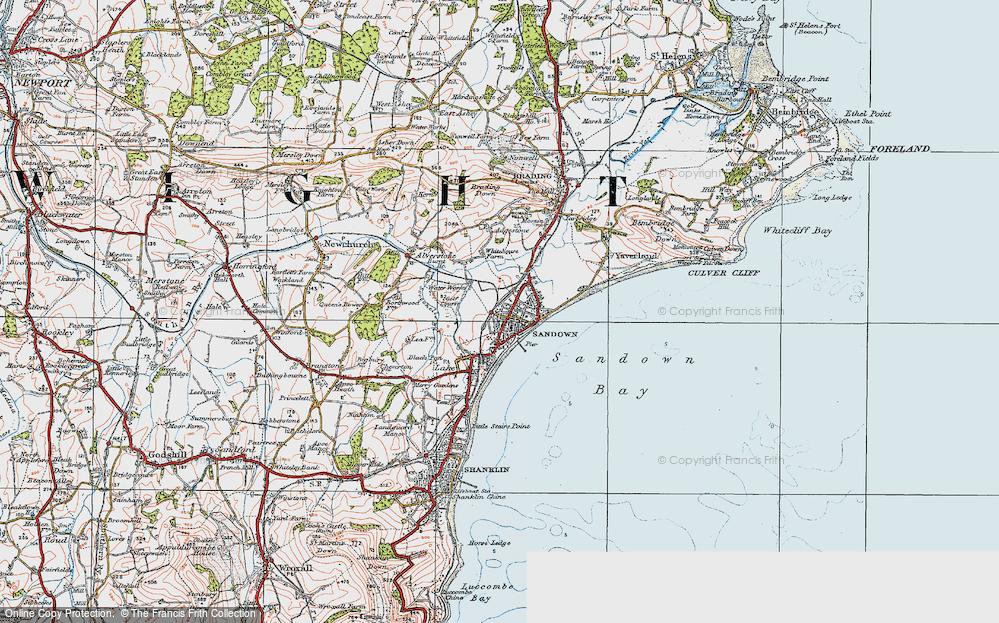 Old Map of Sandown, 1919 in 1919