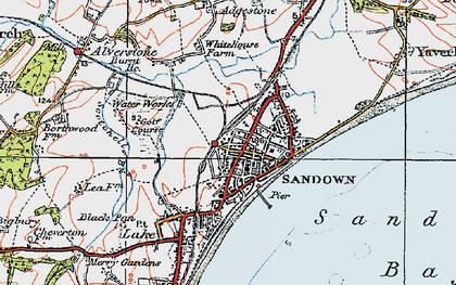 Old map of Sandown in 1919
