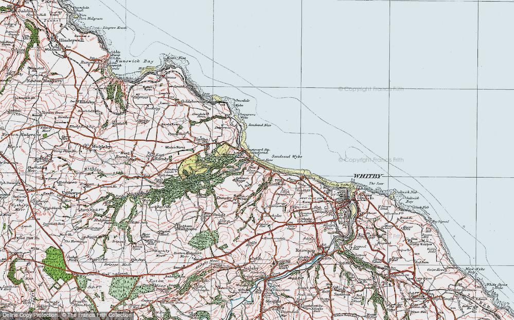 Old Map of Sandsend, 1925 in 1925