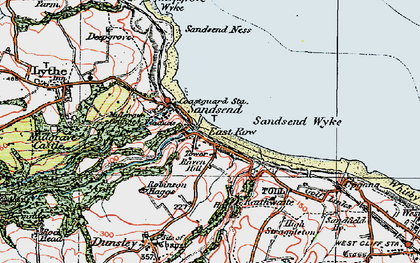 Old map of Sandsend in 1925