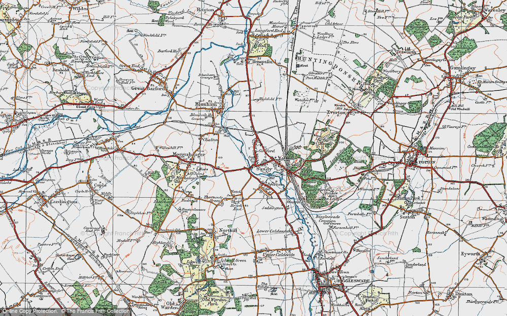 Old Map of Sandy, 1919 in 1919