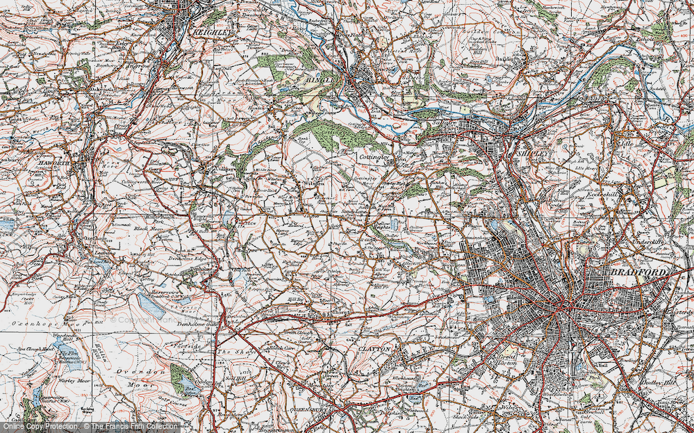 Old Map of Historic Map covering Bailey Fold in 1925