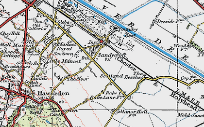Old map of Sandycroft in 1924