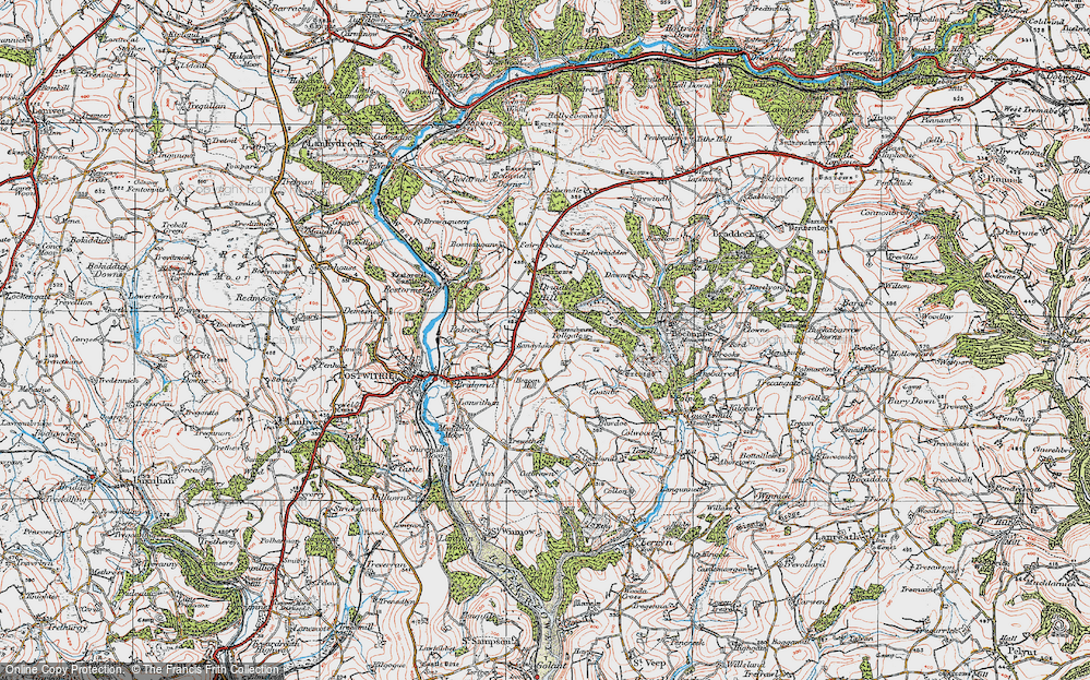 Old Map of Historic Map covering Tollgate in 1919