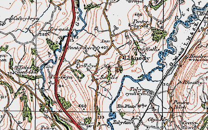 Old map of Ystlys-y-coed isaf in 1923