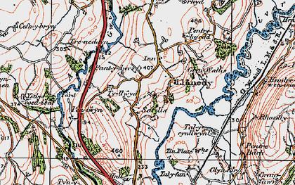 Old map of Ystlys-y-coed-uchaf in 1923