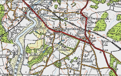 Old map of Sarisbury in 1919