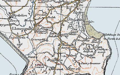 Old map of Sarn-bâch in 1922