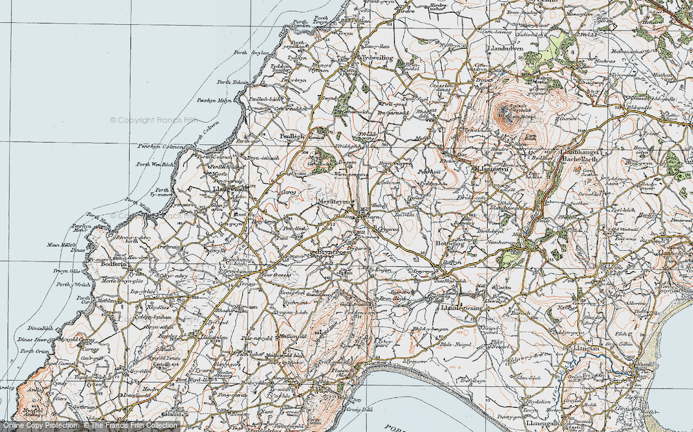 Old Map of Historic Map covering Afon Soch in 1922