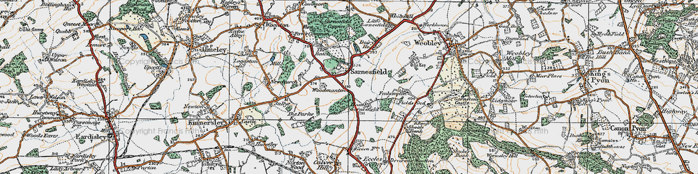 Old map of Sarnesfield in 1920