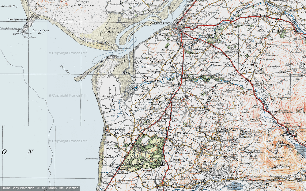 Old Map of Historic Map covering Afon Gwyrfai in 1922