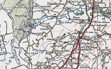Old map of Afon Gwyrfai in 1922