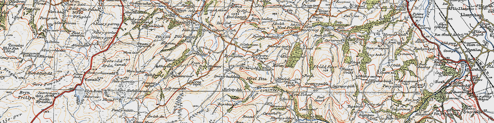 Old map of Afon Concwest in 1922