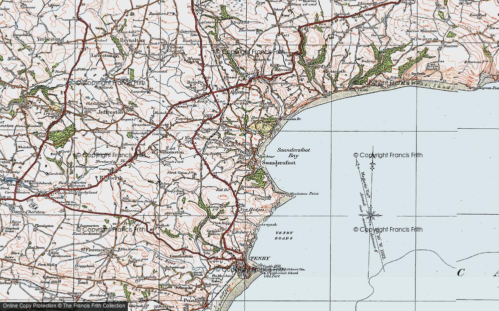 Old Map of Saundersfoot, 1922 in 1922