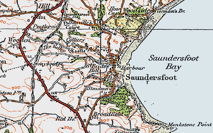 Old map of Saundersfoot in 1922