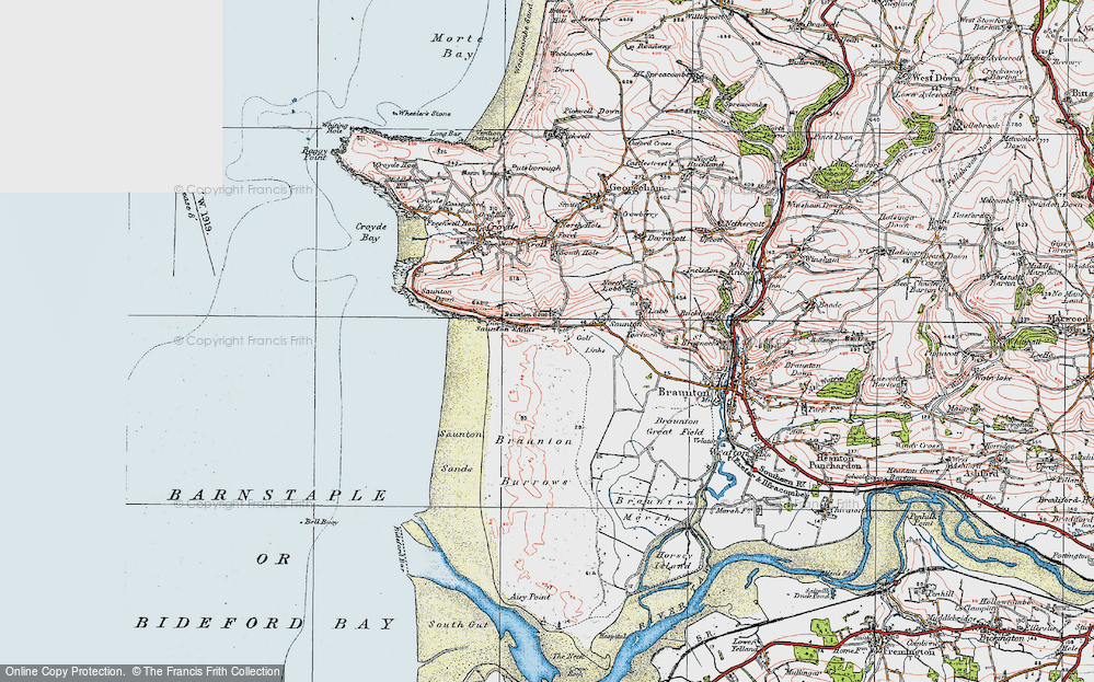 Old Map of Saunton, 1919 in 1919