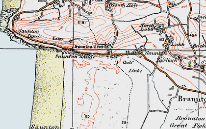 Old map of Saunton in 1919