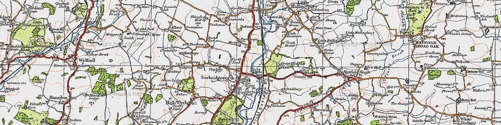 Old map of Sawbridgeworth in 1919