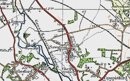 Old map of Sawston in 1920