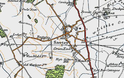 Old map of Sawtry in 1920
