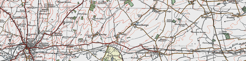 Old map of Saxby in 1921