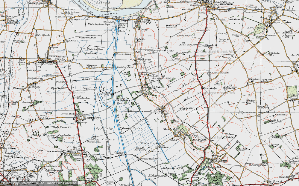 Old Map of Saxby All Saints, 1924 in 1924