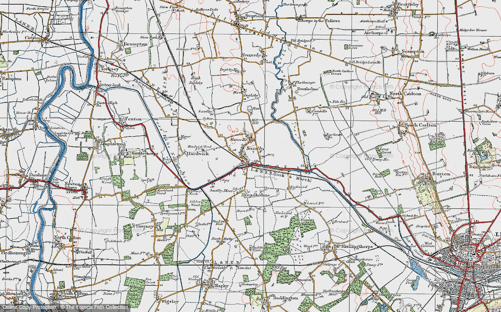 Old Map of Saxilby, 1923 in 1923