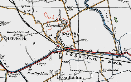 Old map of Saxilby in 1923
