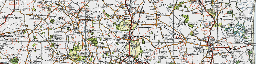Old map of Saxmundham in 1921