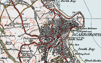 Old map of Scarborough in 1925