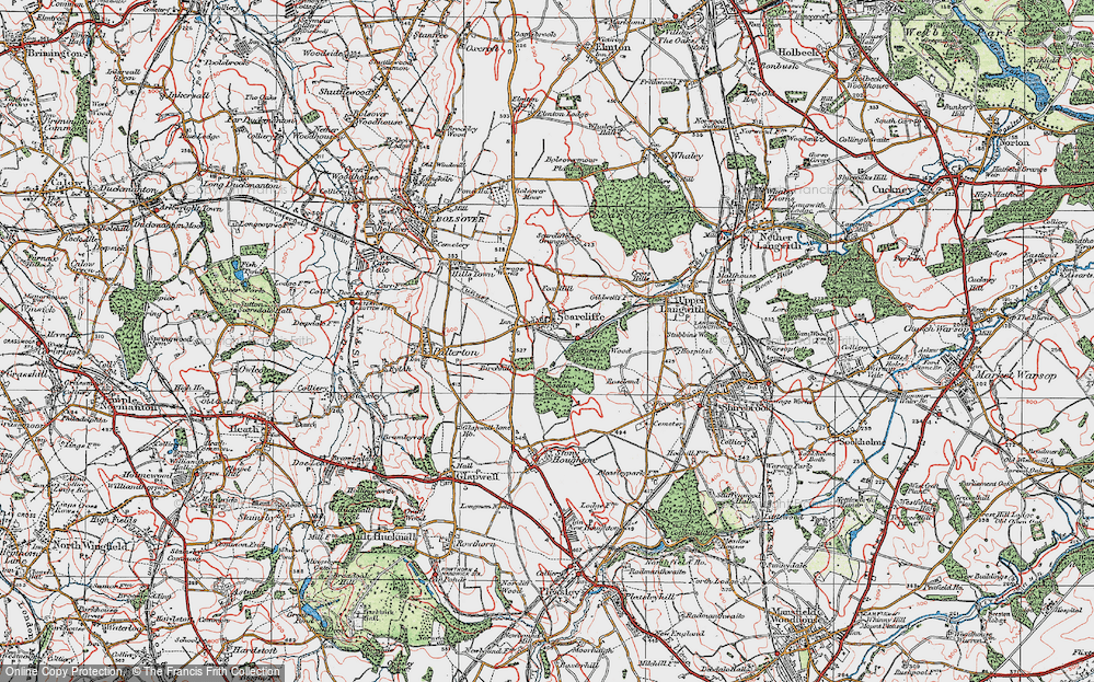 Old Map of Historic Map covering Langwith Wood in 1923