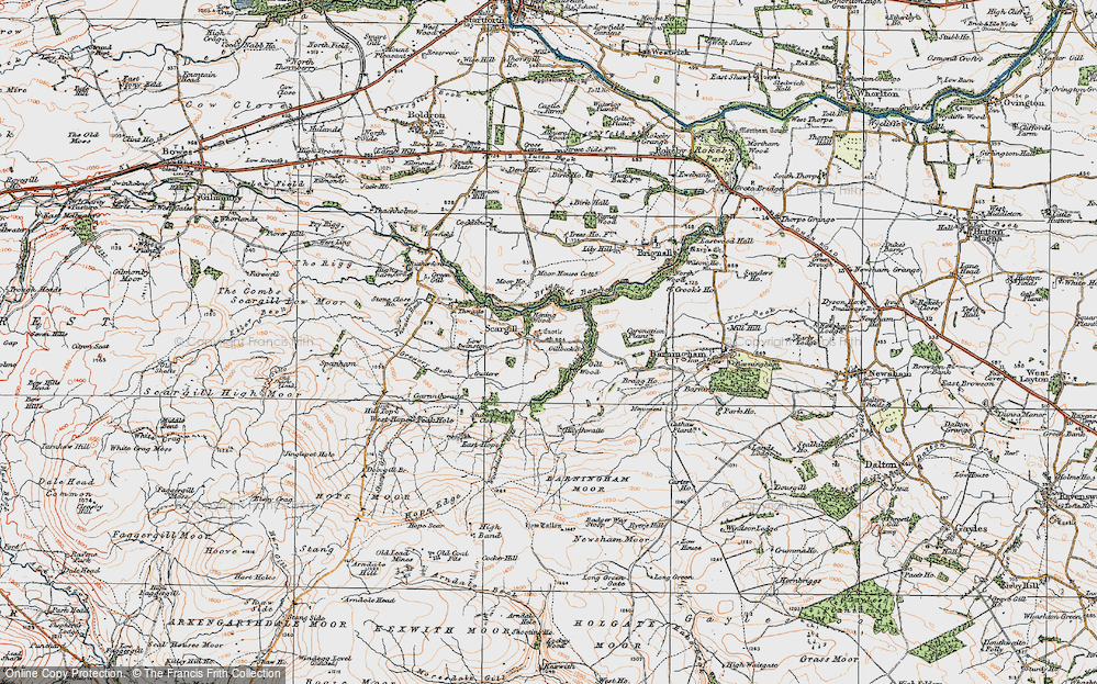 Old Map of Historic Map covering Woodclose Gill in 1925