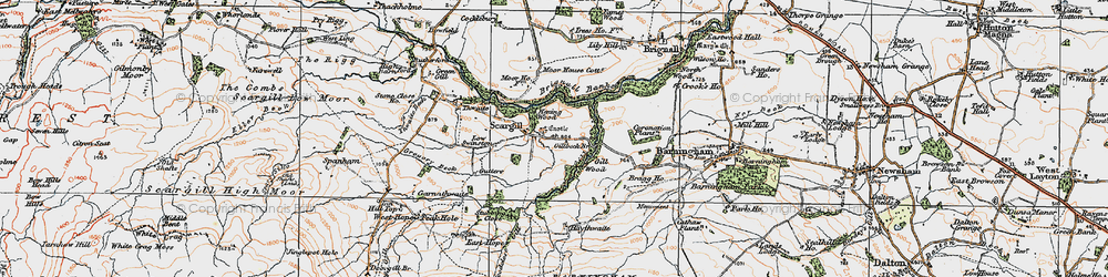 Old map of Thwaite Beck in 1925