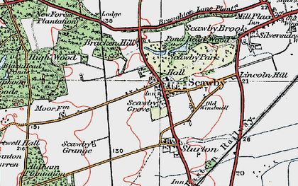 Old map of Scawby in 1923