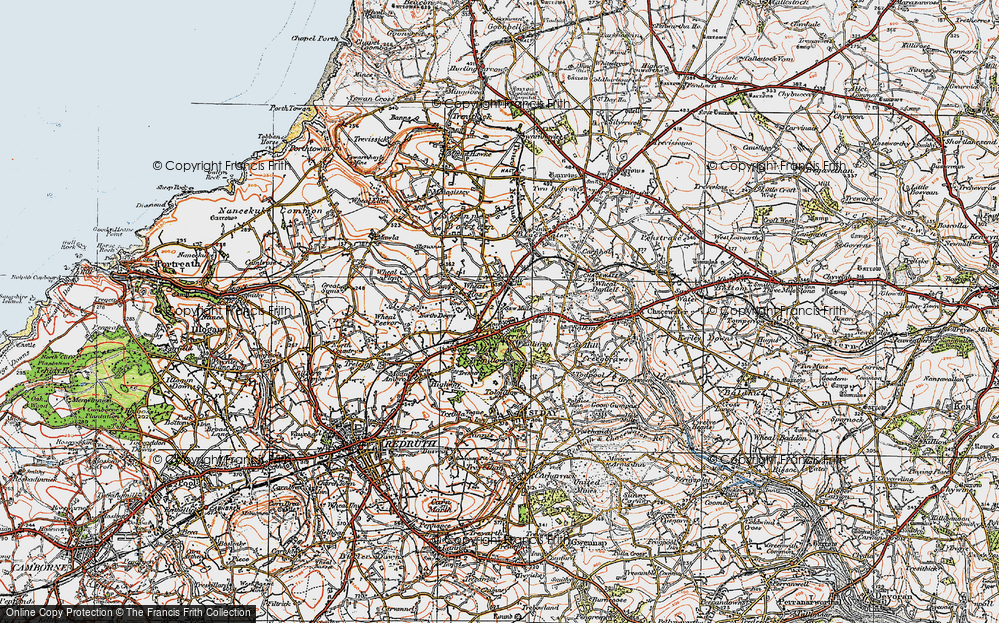 Old Map of Scorrier, 1919 in 1919
