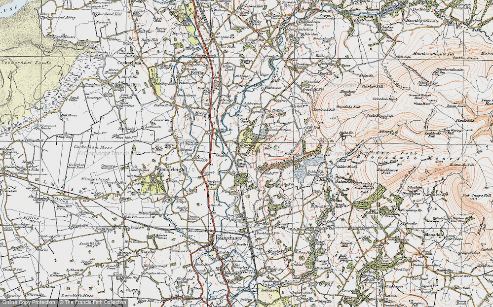 Old Map of Historic Map covering Woodacre Pasture in 1924
