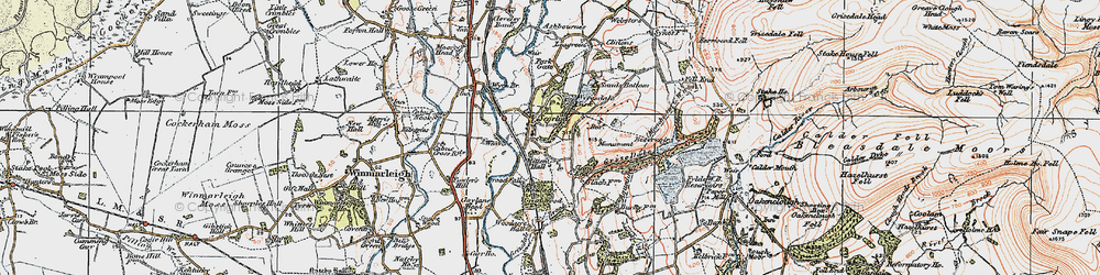 Old map of Wyresdale Park in 1924