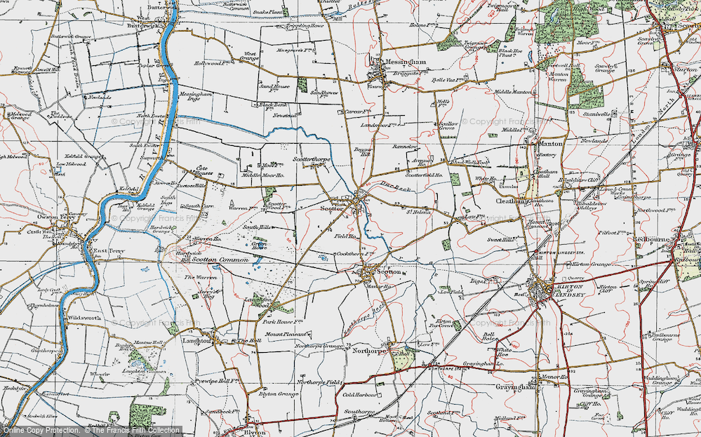 Old Map of Scotter, 1923 in 1923