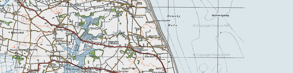 Old map of Scratby in 1922