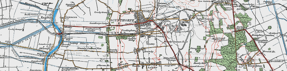 Old map of Scunthorpe in 1923