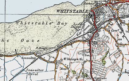 Old map of Whitstable Bay in 1920