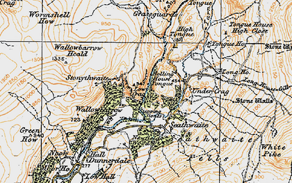 Old map of Seathwaite in 1925