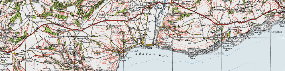 Old map of Seaton in 1919