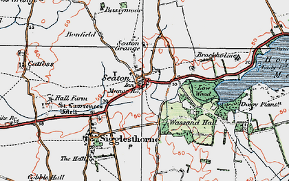 Old map of Seaton in 1924
