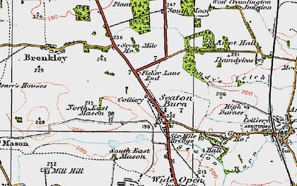 Old map of Seaton Burn in 1925