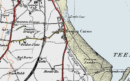 Old map of Seaton Carew in 1925
