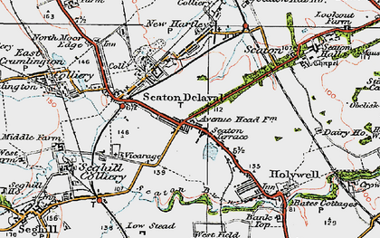 Old map of Seaton Delaval in 1925